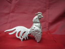 Ancien Coq En Métal Argenté. - Animaux