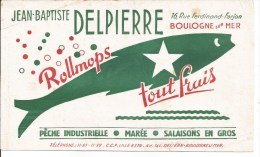 Buvard Boulogne-sur-Mer 16, Rue Ferdinand Farjo.n Jean Baptiste Delpierre Rollmops, Pêche - Buvards, Protège-cahiers Illustrés
