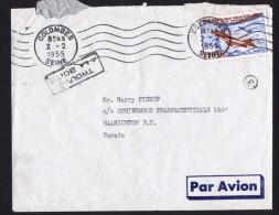 1955  Lettre Avion Pour Le Canada  Poste Aérienne 100fr  Cachet «Trouvé à La Boîte» - Marcophilie (Lettres)