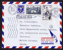 1957  Lettre Avion Pour Le Canada  -  Basketball, Marseilles, Blason  Yv 1072, 1037, 1005 Cachet «Trouvé à La Boît - Marcophilie (Lettres)