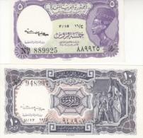 EGYPT 5 10 PIASTERS 1961 P-180b 181b SIG/ Kaissoni SET UNC Cv=$20.00 */* - Egypt