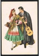 Coimbra - Estudante E Tricana - Illustration Size Postcard - Emilio Freixo - Fado Guitar - Portugal ( 2 Scans ) - Coimbra