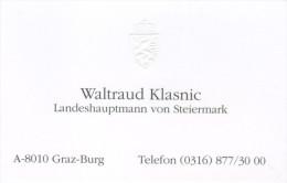 Visitenkarte Waltraud Klasnic Landeshauptmann Steiermark ÖVP Landeshauptfrau Österreichische Volkspartei VP Styria - Visitenkarten