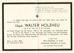 Parte Partezettel Obergefreiter Kehrwalde In Westpreußen 20.2.1945 Österreich Deutsche Wehrmacht Wien-Hütteldorf Militär - Todesanzeige