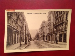 38 Isere GRENOBLE  Avenue De La Gare (Carte Glaçée 1910) + Cad - Grenoble