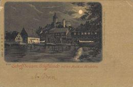 [DC5020] CARTOLINA - SVIZZERA - SCHAFFHAUSEN SCHIFFLÄNDE MIT DEM MUNOTH MONDSCHEIN - Viaggiata - Old Postcard - SH Schaffhouse