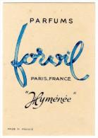 Carte Parfumée Parfums Forvil, Paris-France, Hyménée - Cartes Parfumées