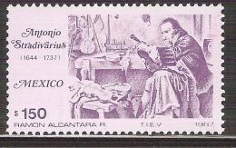 1987 México Antonio Stradivarius Italian,  Violin,  Maker Music Stamp MNH Handicraft Instruments - Mexico