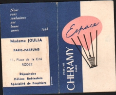 CARTE PARFUMEE - Parfums CHERAMY ESPACE - Calendrier 1958 - Madame JOULIA, RODEZ - Anciennes (jusque 1960)