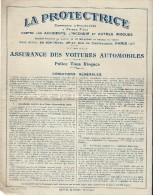 Contrat D'Assurance/ Assurance Des Voitures Automobiles /Tous Risques/ La Protectrice /1931    BA29 - Bank & Insurance