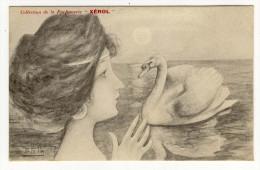 """ILLUSTRATEUR - PATELLA - Femme Avec Cygne Collection Parfumerie """" Xerol """" Bon Etat - Illustrateurs & Photographes"""