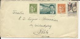 1937 - PAIX - ENVELOPPE De PARIS Avec VIGNETTE MERMOZ + ANTI TUBERCULOSE Pour BALE (SUISSE) - Brieven