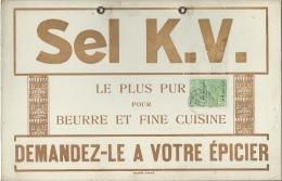 Carton Publicitaire Sel K.V. - 1927 - Dimensions : 27,5 Cm / 17,8 Cm - Publicité