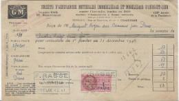 Société D'Assurances Mutuelles Immobiliéres Et Mobiliéres D'Eure Et Loir/Incendie / Chartres/Cotisation /1948   BA31 - Bank & Insurance