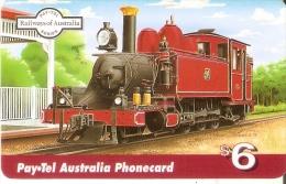 TARJETA DE AUSTRALIA DE UN TREN $6 (TRAIN-ZUG) LOCOMOTORA (PAYTEL) - Australia