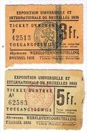 Wereldtentoonstelling  Brussel 1935, 2 Stuks, - Tickets - Vouchers