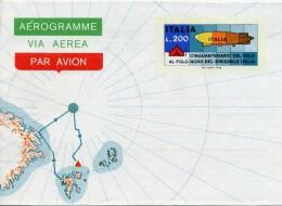 ITALIE AEROGRAMME , Par Avion CINQUANTENAIRE VOL POLE NORD PAR DIRIGEABLE 1978 .  RARE - Polar Flights