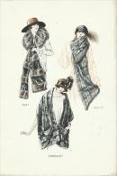 """Superbe Gravure De Mode - Fourrure Canadienne-Epoque : Années 20-30 - Modèles """" Suzy"""", """" Yvette """" Et """" Emeraude """" ( 0 ) - Old Paper"""