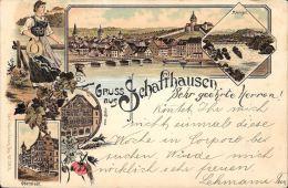 [DC5021] CARTOLINA - SVIZZERA - SCHAFFHAUSEN - GRUSS AUS - Viaggiata 1899 - Old Postcard - SH Schaffhouse