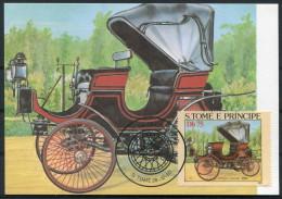 1983 S. Tome E Principe Car Automobile Maxicard PEUGEOT-DAIMLER (1894) - Cars