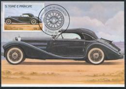 1983 S. Tome E Principe Car Automobile Maxicard MERCEDES COUPE (1936) - Cars