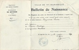 Bulletin De Naissance/ Audignon/Landes / Saint Jean De Luz /Basses Pyrénées/1931   AEC15 - Non Classés