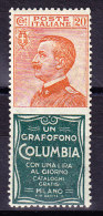 """Italien 20 Cent. Orange Mit Werbung Grün """"Grafofono Columbia"""" ** - 1900-44 Victor Emmanuel III."""