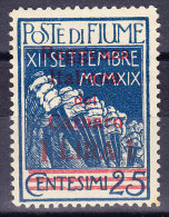 Italien Fiume 1920 Sass. 146 * 1 Lira Auf 25 Cent. Blau "Reggenza Italiana Del Carnaro" Signiert - 8. Besetzung 1. WK