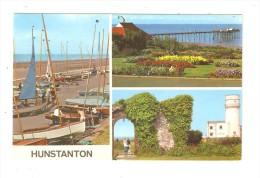 CPA : Hunstanton : 3 Vues - Port - Jardin - Ruines 3 Views : Pier  - Garden  - Old Light House - Non Classés