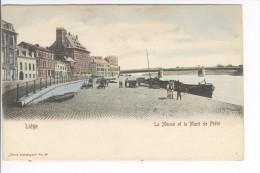 CP Liège La Meuse Et Le Mont De Piété Animé Quai Vers 1903 Colorisé - Lüttich