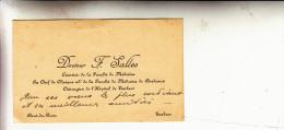 Docteur F Salles-chirurgien Hopital De Tarbes - Visiting Cards