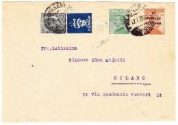 """Milano 22.7.1929 Ortsbrief Frankiert 20Cent Orange, 20Cent Grün Und 15Cent Schwarz Mit Werbung """"Bitter Campari"""" Blau - 1900-44 Victor Emmanuel III."""