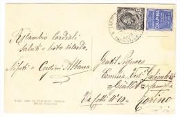 """15Cent Schwarz Mit Werbung """"Grafofono Columbia"""" Blau Auf AK Von Imperia Nach Torino - 1900-44 Victor Emmanuel III."""