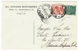 """30Cent Orange Mit Werbung """"Grafofono Columbia"""" Grün Auf Karte Napoli 22.4.1918 - 1900-44 Victor Emmanuel III."""