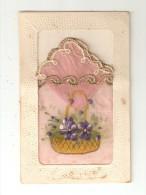 Carte Système En Tissu - Brodée : Pochette Amovible Rose Bords Dorés -  Fleurs Peintes Sur Tissu Rose - A Systèmes
