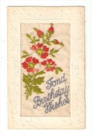Carte  Brodée - Fond Birthday Wishes : Fleurs Rouges & Texte Brodés - Brodées