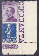 """Italien 1924 Sass.#12b ** 50Cent Violett Mit Werbung """"De Montel"""" Blau ** Attest Raybaudi - BM Für Werbepost (BLP)"""