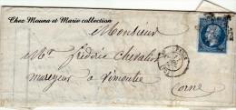 1860 LAC N° 14 A PARIS VIMOUTIERS DAUFRESNE CHEVALIER MAREYEUR POISSONS ETOILE MUETTE - Marcophilie (Lettres)