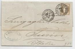- Lettre - BOUCHES Du RHONE - MARSEILLE - Cachet à Date S/TP Cérès N°56 + Càd T.17 - 1876 - 1871-1875 Cérès