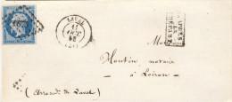 Lettre Napoléon Empire N°14 Laval Mayenne 11/10/1858 Petits Chiffres 1673 Loiron Cachet Après Le Départ - 1853-1860 Napoléon III