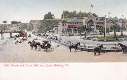 SANTA CATALINA, California, 1900-1910's; Bath House And Plaza Del Mar, Horse Carriages