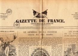 Reédition Du Journal  GAZETTE DE FRANCE De Septembre 1830 Par LES GALERIES LAFAYETTE Pour Le Bicentenaire De LA  FAYETTE - Vecchi Documenti