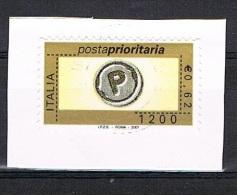 2001 - ITALIA - POSTA PRIORITARIA CON MILLESIMO 2001 - USATO SU FRAMMENTO DI CARTA. - 2001-10: Usati