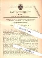Original Patent -  H. Baumotte In Voßnacken B. Velbert , R. Nöggerath In St. Johann A.d. Saar ,1883, Wasserkraftmaschine - Historische Dokumente