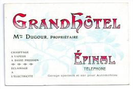 88 EPINAL  Grand Hotel Dugour   Carte Double Avec Plan De La Ville Epinal  -R- - Epinal
