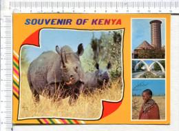 KENIA  -  Souvenir Of  Kenya  -  4 Vues :  Rhinoceros   -  Congerence Centre Nairobi  -  Tusks Mombasa   - Masai Woman, - Kenia