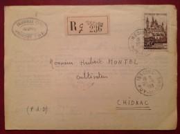 Lettre Recommandée Tribunal Civil ISSOIRE Pour Montel à CHIDRAC 1953 - 1921-1960: Période Moderne