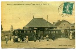CPA  51  :  CONDE SUR MARNE   Place De La Halle Avec Le CBR  1913    VOIR  DESCRIPTIF   §§§ - France