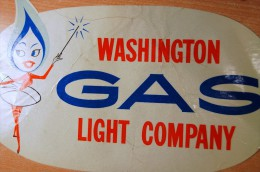 Old School Vintage 60/70's Washington Gaz Light Decal Sticker - Autocollants