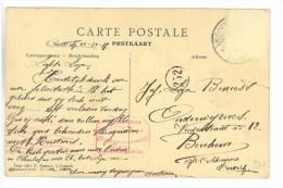 CPA KONTICH, CONTICH, CHAUSSEE D� EDEGEM 1917, MET CENSUURSTEMPEL WO1, UNIEKE KAART